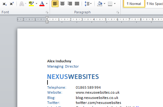 How to Create an Email Signature in Outlook 2010 | Nexus Websites Ltd